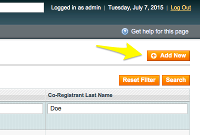 Add new customers in gift registry