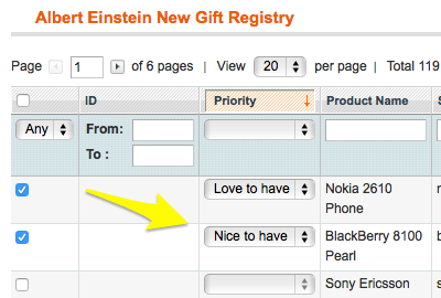 Add products to customer gift list