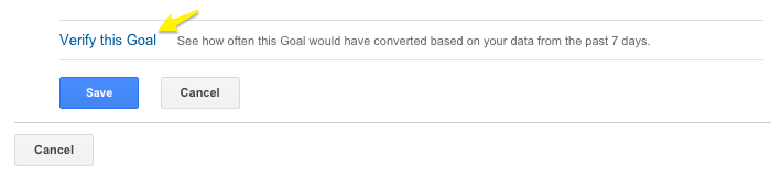Goal verification google analytics