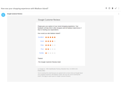 Automatically send Google Customers Review survey email