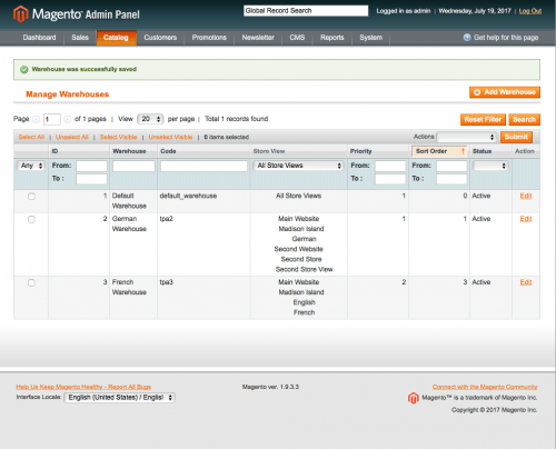Manage Warehouses via the warehouses grid: magento inventory management extension