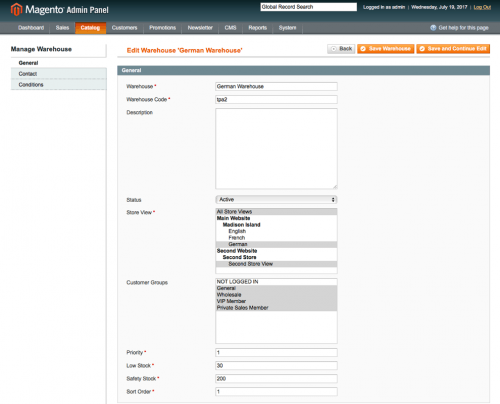 Specify all the warehouse data and conditions: magento warehouse management plugin