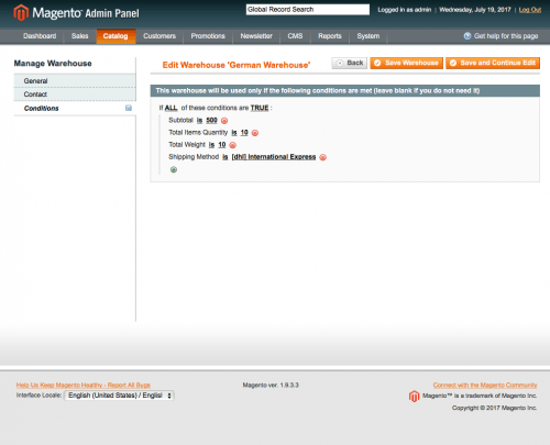 Set general settings and contact descriptions for warehouses: magento stock management module