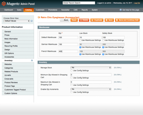 Set low and safety stock for each product or for the warehouse in general: magento stock management extension