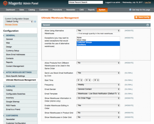Use an alternative warehouse and set exceptions, if needed: extension for magento warehouse management