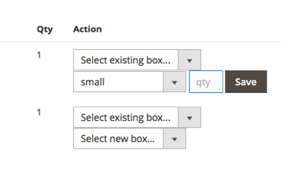 Add any number of shipping boxes and specify their dimensions