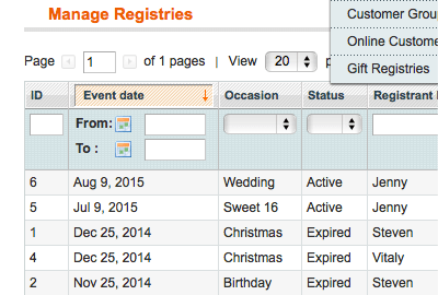 View A List Of Created Registries
