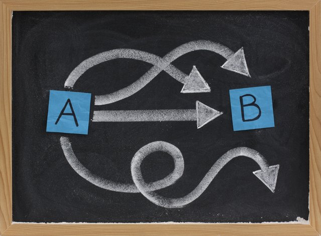The paths between points A and B